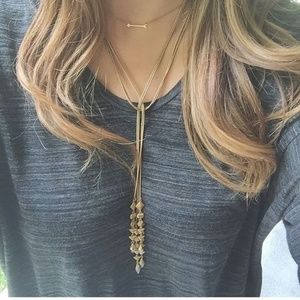 Stella & Dot Gold Lariat Necklace